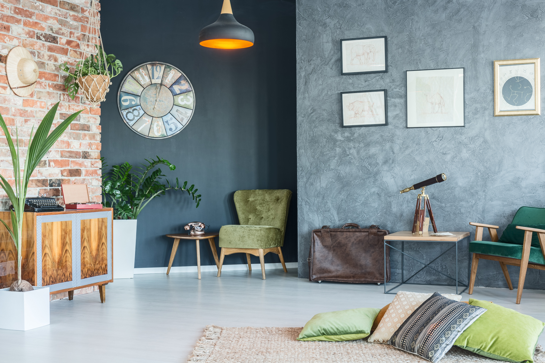Stylish living room interior design with green accessories